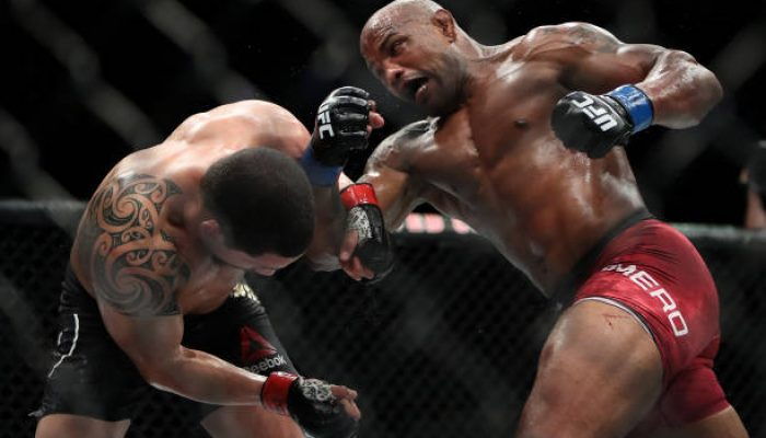 CHICAGO, IL - JUNE 09:  Yoel Romero of Cuba (L) attempts a punch against Robert Whittaker of New Zealand in the third round in their middleweight title fight during the UFC 225: Whittaker v Romero 2 event at the United Center on June 9, 2018 in Chicago, Illinois. Whittaker won in a split decision.  (Photo by Dylan Buell/Getty Images)
